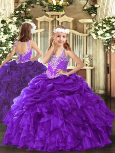 Sleeveless Lace Up Floor Length Beading and Ruffles and Pick Ups Little Girl Pageant Gowns