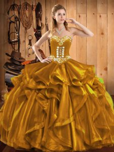 Edgy Gold Ball Gowns Embroidery and Ruffles Quince Ball Gowns Lace Up Organza Sleeveless Floor Length