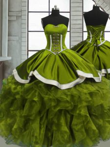 Spectacular Olive Green Organza Lace Up Sweetheart Sleeveless Floor Length Sweet 16 Dress Beading and Ruffles