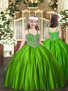 Excellent Green Lace Up Pageant Dresses Beading Sleeveless Floor Length