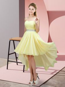 Chic Yellow A-line Sweetheart Sleeveless Chiffon High Low Lace Up Beading Quinceanera Dama Dress