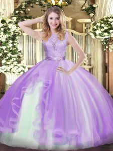Lavender Sleeveless Floor Length Lace and Ruffles Backless Ball Gown Prom Dress