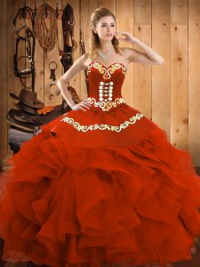 Floor Length Lace Up Sweet 16 Dresses Rust Red for Military Ball and Sweet 16 and Quinceanera with Embroidery and Ruffles