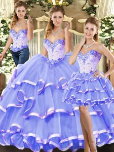 Ball Gowns Vestidos de Quinceanera Lavender Sweetheart Tulle Sleeveless Floor Length Lace Up