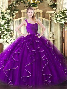 Dynamic Organza Straps Sleeveless Zipper Ruffles Ball Gown Prom Dress in Eggplant Purple