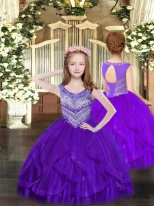 Nice Scoop Sleeveless Little Girl Pageant Gowns Floor Length Beading and Ruffles Purple Tulle