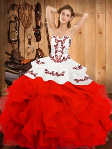 Suitable White And Red Strapless Neckline Embroidery and Ruffles Quince Ball Gowns Sleeveless Lace Up