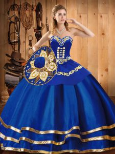 Perfect Satin and Tulle Sleeveless Floor Length 15th Birthday Dress and Embroidery