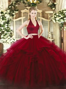 Excellent Wine Red Two Pieces Ruffles Sweet 16 Dresses Zipper Organza Sleeveless Floor Length