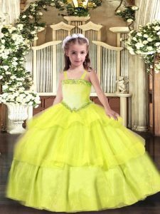 New Arrival Yellow Straps Neckline Appliques and Ruffled Layers Evening Gowns Sleeveless Lace Up