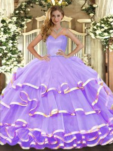 Modern Sleeveless Lace Up Floor Length Ruffled Layers Quinceanera Dresses