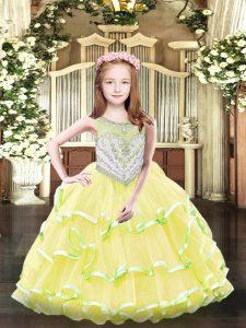 Ball Gowns Winning Pageant Gowns Yellow Scoop Organza Sleeveless Floor Length Zipper