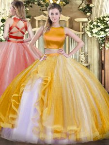 Admirable Gold Sleeveless Floor Length Ruffles Criss Cross 15th Birthday Dress