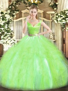 Traditional V-neck Sleeveless Quinceanera Gown Floor Length Beading and Ruffles Yellow Green Tulle