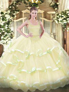 Light Yellow Zipper Vestidos de Quinceanera Beading and Ruffled Layers Sleeveless Floor Length