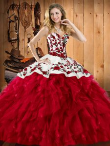 Wine Red Sweetheart Neckline Embroidery and Ruffles 15th Birthday Dress Sleeveless Lace Up