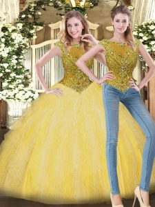 Most Popular Yellow Sleeveless Beading and Ruffles Floor Length Ball Gown Prom Dress