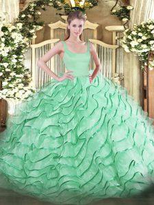 Comfortable Apple Green Sleeveless Ruffled Layers Zipper Ball Gown Prom Dress