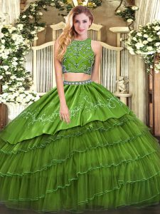 Gorgeous Olive Green Tulle Zipper Sweet 16 Dresses Sleeveless Floor Length Beading and Embroidery and Ruffled Layers