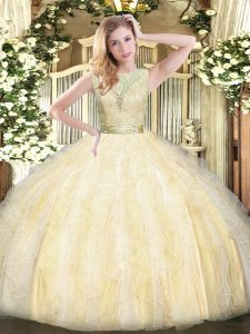 Light Yellow Backless Scoop Lace and Ruffles Quinceanera Dress Organza Sleeveless