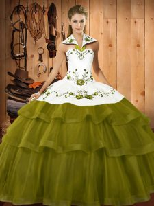 Attractive Halter Top Sleeveless Sweep Train Lace Up Ball Gown Prom Dress Olive Green Organza