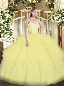 Light Yellow Lace Up 15 Quinceanera Dress Beading and Ruffled Layers Sleeveless Floor Length