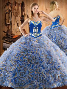 Multi-color Ball Gowns Embroidery Quinceanera Gowns Lace Up Satin and Fabric With Rolling Flowers Sleeveless
