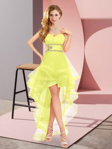 A-line Quinceanera Dama Dress Yellow Sweetheart Tulle Sleeveless High Low Lace Up