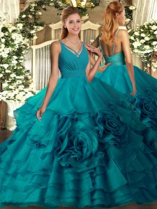 Extravagant V-neck Sleeveless Sweet 16 Quinceanera Dress Floor Length Ruffles Teal Fabric With Rolling Flowers