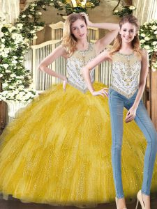 Admirable Yellow Ball Gowns Scoop Sleeveless Organza Floor Length Zipper Beading and Ruffles Quince Ball Gowns