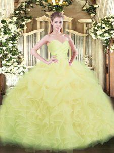 Floor Length Light Yellow Ball Gown Prom Dress Organza Sleeveless Beading and Ruffles