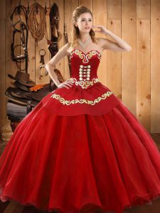 Red Tulle Lace Up Quinceanera Dress Sleeveless Floor Length Ruffles