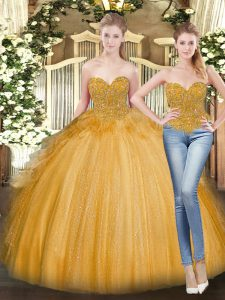 Latest Gold Lace Up Quince Ball Gowns Beading and Ruffles Sleeveless Floor Length