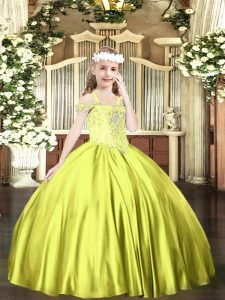 Customized Off The Shoulder Sleeveless Satin Pageant Dress for Teens Beading Lace Up