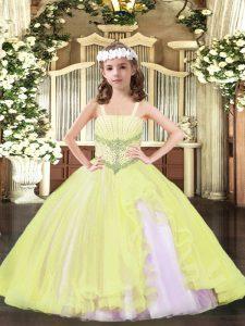 Eye-catching Floor Length Light Yellow Little Girl Pageant Gowns Tulle Sleeveless Beading