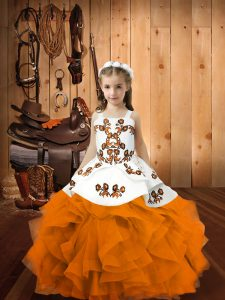 Custom Design Orange Sleeveless Organza Lace Up Pageant Gowns For Girls for Party and Sweet 16 and Quinceanera and Wedding Party