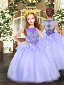 Organza Sleeveless Floor Length Little Girls Pageant Gowns and Beading