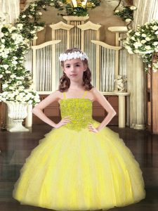 Stylish Ball Gowns Girls Pageant Dresses Yellow Spaghetti Straps Organza Sleeveless Floor Length Lace Up