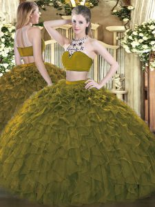 Captivating Olive Green Sleeveless Tulle Backless Sweet 16 Quinceanera Dress for Military Ball and Sweet 16 and Quinceanera