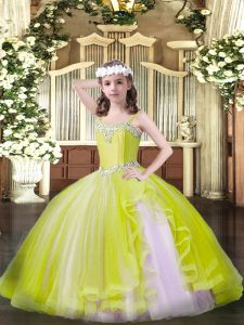Sleeveless Floor Length Beading Lace Up Kids Pageant Dress with Yellow