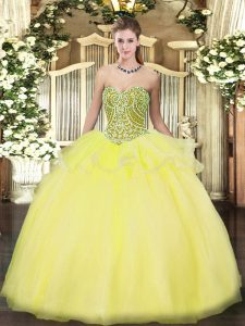Floor Length Ball Gowns Sleeveless Yellow Sweet 16 Dress Lace Up