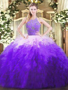 Edgy Multi-color Halter Top Neckline Beading and Ruffles Quinceanera Dress Sleeveless Zipper