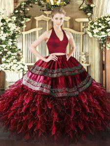 Halter Top Sleeveless Organza 15th Birthday Dress Appliques and Ruffles Zipper