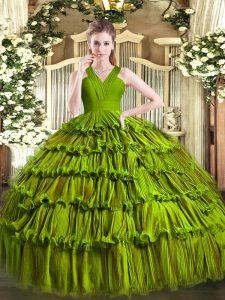 High Class Olive Green Zipper V-neck Ruffled Layers Quinceanera Dress Organza Sleeveless