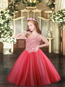 Dramatic Coral Red Lace Up Little Girls Pageant Dress Appliques Sleeveless Floor Length