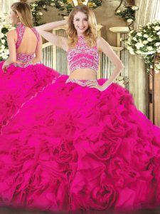 Flare Hot Pink Two Pieces Beading and Ruffles Sweet 16 Quinceanera Dress Backless Tulle Sleeveless Floor Length