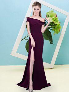 Customized Off The Shoulder Sleeveless Zipper Dama Dress for Quinceanera Burgundy Elastic Woven Satin