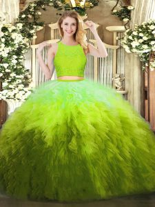 Lace and Ruffles Quinceanera Dresses Olive Green Zipper Sleeveless Floor Length
