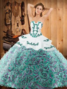Multi-color Ball Gowns Satin and Fabric With Rolling Flowers Strapless Sleeveless Embroidery With Train Lace Up Quinceanera Dresses Sweep Train