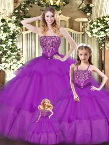 Purple Sweetheart Neckline Ruffled Layers Quinceanera Dress Sleeveless Lace Up